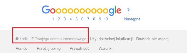 Google - lokalizacja komputera