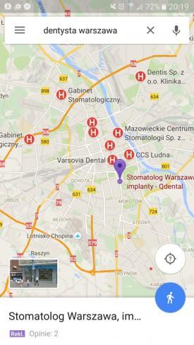 Reklamy w Google maps, wyniki mobilne