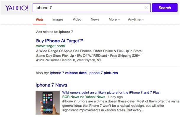 Tradycyjna strona wyszukiwań Yahoo