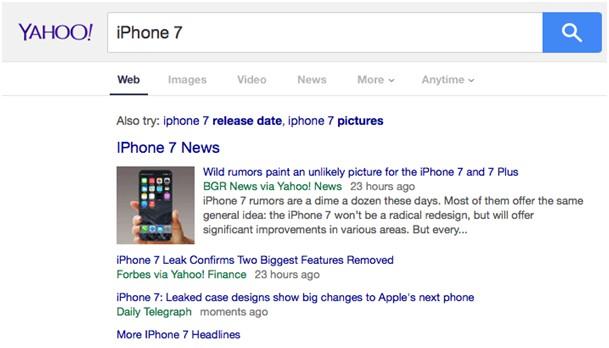Testowa wersja strony Yahoo