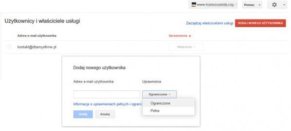 dodawanie uzytkownica Search Console
