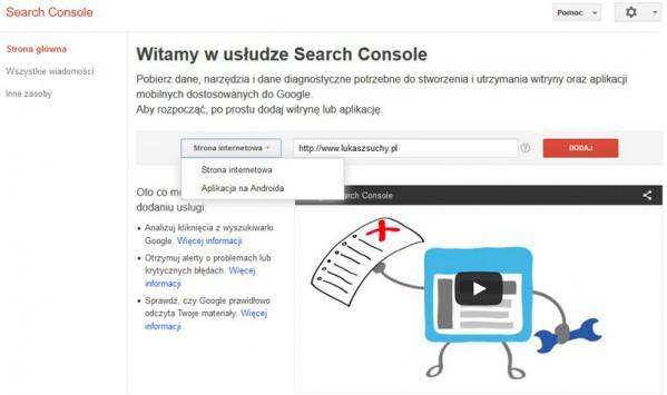 Jak dodać stronę do Search Console