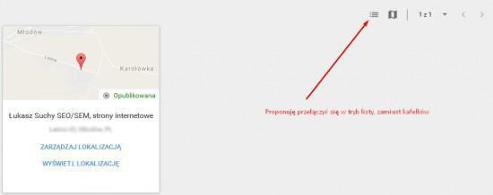 tryb listy w google maps