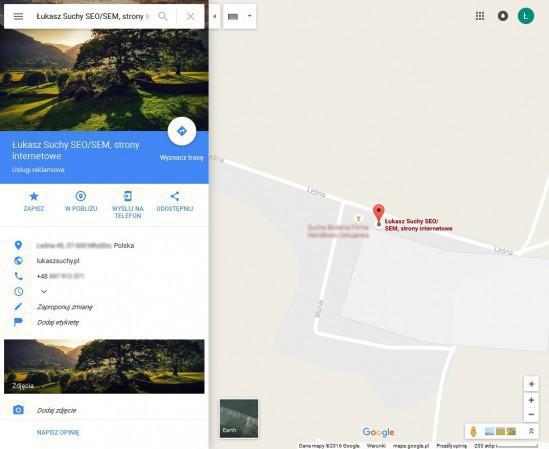 wpis w mapach Google