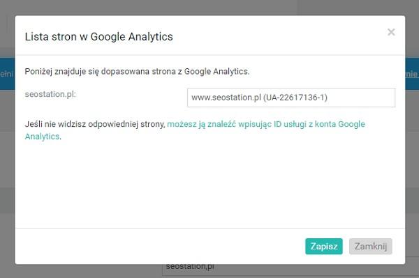 Wybór strony z Google Analytics