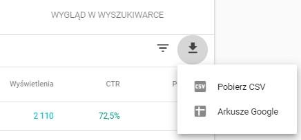 Eksport danych z Google Search Console