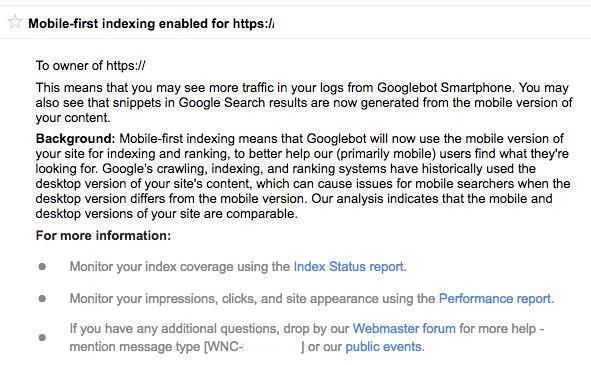 mobile-first index powiadomienie