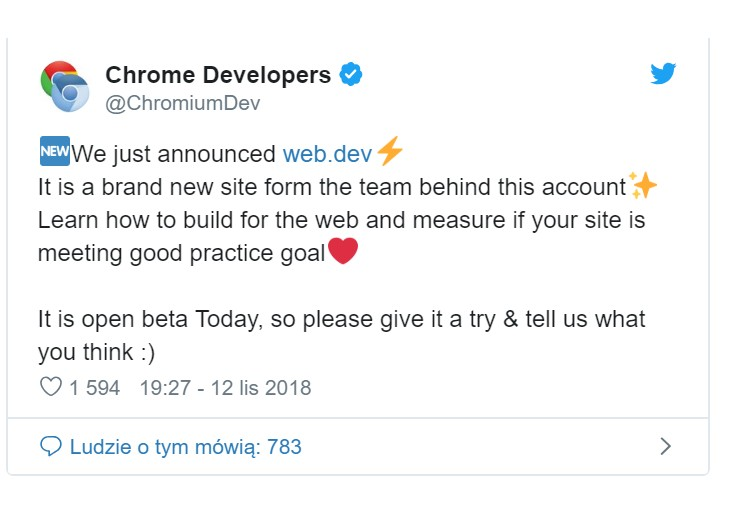 Tweet Chrome Developers