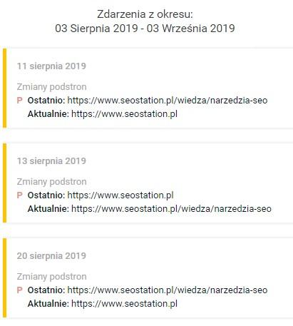 Lista zdarzeń w SeoStation