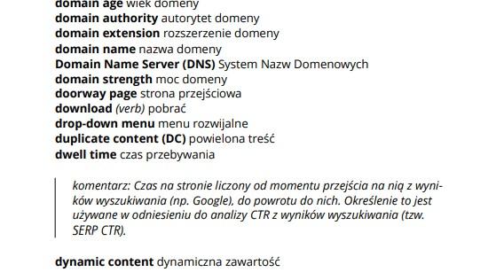 Słownik pojęć SEO - fragment